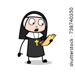 cartoon nun reading notes and... | Shutterstock .eps vector #738740350