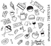 collection of handdrawn food... | Shutterstock .eps vector #738757114