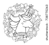 unicorn and wreath of apple...   Shutterstock .eps vector #738770263