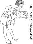 vector art drawing of pretty... | Shutterstock .eps vector #738772183