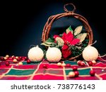 christmas decoration over dark... | Shutterstock . vector #738776143