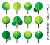 set of green trees. vector...