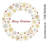 christmas wreath of snowflakes. ...   Shutterstock .eps vector #738784048