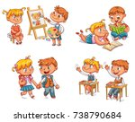 students put hand up in class... | Shutterstock .eps vector #738790684