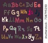hand drawn alphabet. brush... | Shutterstock .eps vector #738795250