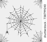halloween black spider and torn ... | Shutterstock .eps vector #738799240
