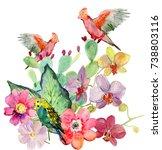 Romantic Parrots  Tropical...