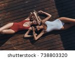 enjoying summer. top view of... | Shutterstock . vector #738803320