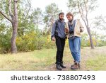 young couple of tourists in the ... | Shutterstock . vector #738807493