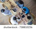 top view of students do... | Shutterstock . vector #738810256