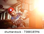 workers of the mining industry  ... | Shutterstock . vector #738818596