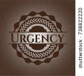 urgency retro style wood emblem | Shutterstock .eps vector #738822220