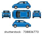 blue mini car vector mock up... | Shutterstock .eps vector #738836773