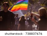 people attend a gay pride event | Shutterstock . vector #738837676