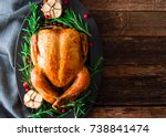 roasted chicken with... | Shutterstock . vector #738841474