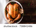 roasted chicken with... | Shutterstock . vector #738841486