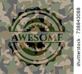 awesome on camouflaged pattern | Shutterstock .eps vector #738843088