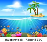 colorful coral reef with fish... | Shutterstock . vector #738845980