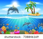 cartoon dolphin jumping in blue ... | Shutterstock .eps vector #738846169