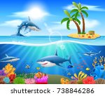 cartoon shark jumping in blue... | Shutterstock .eps vector #738846286