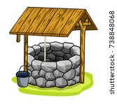 cartoon old stone well with a...   Shutterstock .eps vector #738848068