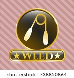 shiny emblem with hand gripper ... | Shutterstock .eps vector #738850864