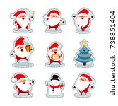 santa claus stickers. christmas ... | Shutterstock .eps vector #738851404