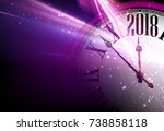 lilac 2018 new year shining... | Shutterstock .eps vector #738858118
