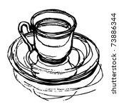 coffee drawing | Shutterstock .eps vector #73886344