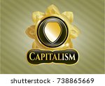gold badge with shield icon... | Shutterstock .eps vector #738865669