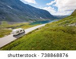 rv car in mountains of norway ... | Shutterstock . vector #738868876