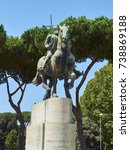 Small photo of Rome, Italy - August 19, 2017. Monument to George Castriot known as Skanderbeg, Albanian nobleman and military commander in Piazza Albania square. Rome, Lazio, Italy.