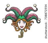 pretty girl face with joker...   Shutterstock .eps vector #738872554