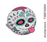 emoji tongue. day of the dead.... | Shutterstock .eps vector #738876004