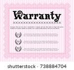 pink warranty certificate... | Shutterstock .eps vector #738884704