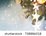 christmas ornament on wooden... | Shutterstock . vector #738886318