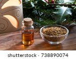 a bottle of myrrh essential oil ... | Shutterstock . vector #738890074