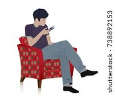 young  man sitting in the retro ... | Shutterstock .eps vector #738892153