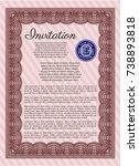 red retro invitation. money... | Shutterstock .eps vector #738893818