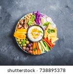 hummus platter with assorted... | Shutterstock . vector #738895378