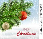 the branch of a christmas tree... | Shutterstock . vector #738897310