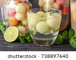 glass of delicious cocktail... | Shutterstock . vector #738897640