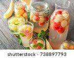 glassware with delicious... | Shutterstock . vector #738897793