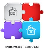 home. raster puzzle. vector... | Shutterstock . vector #73890133