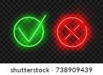 tick icon set. stylish neon...   Shutterstock .eps vector #738909439