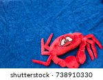 Crab Toy On Blue Background...