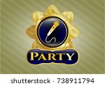 gold badge with microphone... | Shutterstock .eps vector #738911794