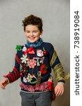 a boy wearing an ugly homemade...   Shutterstock . vector #738919084
