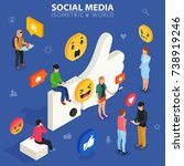 social media isometric concept. ... | Shutterstock .eps vector #738919246