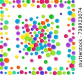 confetti border on white... | Shutterstock . vector #738923074